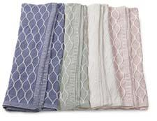 Sferra's Orazio collection includes knitted throws (seen here) and decorative pillows in 100 percent cotton. sferra.com