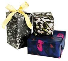 One Kings Lane is offering limited-edition gift wrap creations designed from top style icons in support of a variety of philanthropic causes. The Rachel Zoe paper here, for example, will benefit Save the Children. onekingslane.com