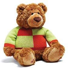 The 2012 version of Bloomingdale's Little Brown Bear by Gund sports a chic orange and lime color-block sweater; $3.50 from the sale of every bear benefits the Child Mind Institute. bloomingdales.com