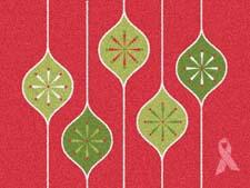 The Holiday Ornaments welcome mat is one of the newest designs in Carpet One's campaign to support the Breast Cancer Research Foundation and the Canadian Cancer Society. carpetone.com
