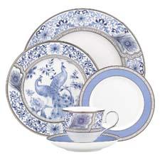 The newest Marchesa dinnerware design from Lenox is called Sapphire Plume, a full-coverage pattern with a peacock motif. lenox.com