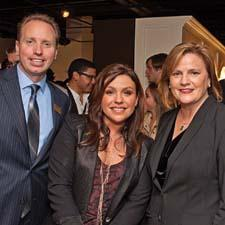 Jay Zilinskas of Meyer Corporation, Rachael Ray and Laurie Burns of Forty One Madison during a party in the Meyer showroom.