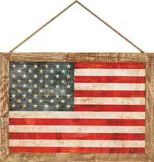 The Allegiance textured plaque from Paragon allows you to display the stars and stripes indoors or out. It measures 29 by 41 inches. paragonpg.com