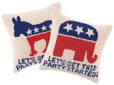 Available in three donkey and elephant styles representing the two political parties, these decorative pillows from Peking Handicraft will last through several presidential elections. pkhc.com