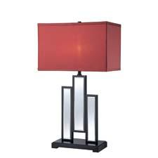 This table lamp introduction from Lite Source – LS-22163 – has a black-finished metal frame and a mirror body with a burgundy fabric shade. lite-source.com