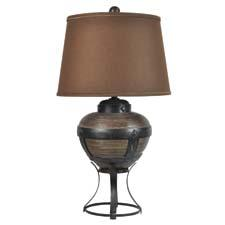 New lighting debuts from Crestview include CIAUP726, a poly and metal table lamp that is 31.5 inches in height. crestviewcollection.com