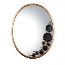 Its first mirror introduction in a few years, Varaluz debuted smaller mirrors at the Dallas International Lighting Market. Shown here in the Kolorado finish with recycled amber bottle glass, it has other options as well. varaluz.com