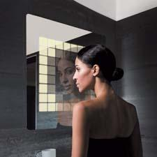 The mirror becomes interactive with Philips' new Lumiblade LivingShapes, which uses 70 organic LEDs that switch to mirror elements when they detect motion, making it a light installation as well. philips.com