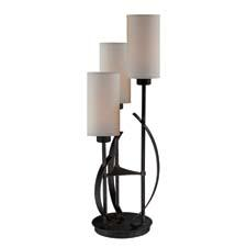 This transitional three-light table lamp from Lite Source, item #LS-22150, has an antique bronze finished metal body, a linen fabric shade and a three-way switch. lite-source.com