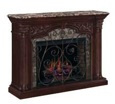 Carved column capitals and half round corners add exquisite old world style to the Astoria, a 33-inch ClassicFlame Electric Fireplace. twinstarhome.com