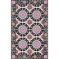 This new rug from Momeni incorporates the suzani design, here in a black colorway. momeni.com