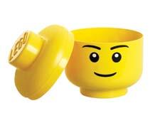 The Lego storage head in an iconic yellow comes in two sizes and is stackable. roomcph.com