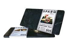 The Sparq Thermal Appetizer Plate is made from recycled soapstone and can be easily heated or chilled to maintain perfect temperatures. sparqhome.com