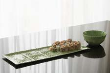 This tray and bowl from the Persian Pressware Collection is made using antique Indian woodblocks. kosoyandbouchard.com