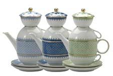Mottahedeh's porcelain Tea for Two comes in four colorways, each edged in 22-K gold. mottahedeh.com