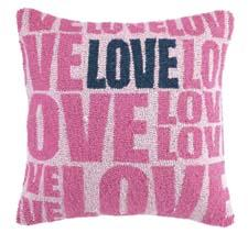 The Love Pink Hook pillow is made of 100 percent wool and measures 18 inches square. pkhc.com