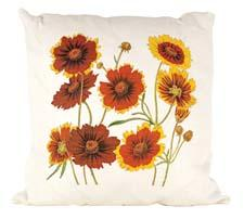 Printed on white linen, the Coreopsis pillow has a cotton insert with down fill and a knife-edge finish. oxbowdecor.com