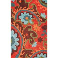 Kas' Bali collection is made up of bright colors and unusual transitional patterns, shown in the Mocha/Rust Serafina design here. Handtufted of a poly-acrylic blend. kasrugs.com