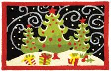 Jelly Bean expands its holiday selection with new designs from Geoff Allen, including Fanciful Christmas Trees shown here. Measuring 21 by 33 inches, it is made from 35 percent recycled materials. jellybeanrug.com