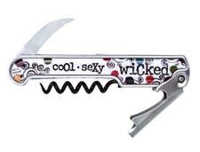 The Wicked Cool barware collection is has an arsenal of colorful language and includes this winged corkscrew and other wine accessories. thirstystone.com