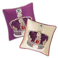 London-based Designers Guild's Royal Collection of accessories includes this Jubilee decorative cushion, depicting the crown the queen wears on state occasions, set on a background of either damson or soft ivory. designersguild.com