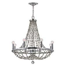 In Crystorama's Channing collection, this chandelier (#1548-CH-MWP) has crystal bead accents and a polished chrome finish. crystorama.com