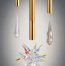 LBL will debut Izzy, a sleek design that combines Swarovski crystals with 6-watt LED modules. The 12-inch long stem is available in black, satin gold and satin nickel. lbllighting.com