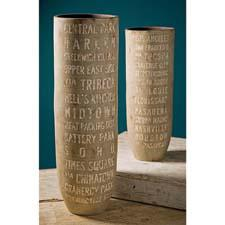 These Soho vases from IMAX are ceramic and come in two heights: a small one that is 21 inches high (#18171) and a large one that is 28 inches high (#18170). imaxcorp.com