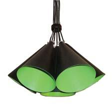 Moe's Home Collection has expanded into the lighting category, and includes KW-1031-18 here, made of iron. It has a matte black exterior and a matte green interior. moeshomecollection.com