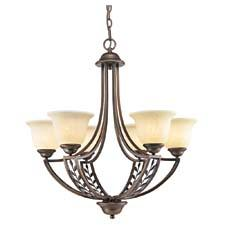 Golden Lighting's Woodbriar collection (#8995-6 SBZ) blends transitional and modern style with traditional elements. The Sovereign Bronze finish highlights the detailed veining in the sculpted metal leaves. goldenlighting.com