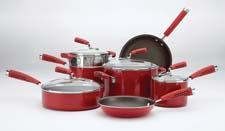 Aluminum cookware:Offered in three versions, including aluminum, the new KitchenAid Gourmet line features a distinctive soft cushion grip handle. meyer.com