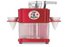 The Professional Snow Cone Maker cuts up to 12 ice cubes with stainless steel cutting blades, making three snow cones in less than 30 seconds. waringproducts.com