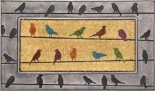 Bacova's Birds entry mat, made of vulcanized rubber with a metallic washed finish and a center of koko fibers, combines function with fashion. bacova.com