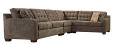 The Tribeca is a contemporary tufted cushion sectional featuring buttons, contrast pillows and modern wedge feet. broyhillfurniture.com