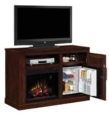 The Party Time (Triple Function) features a 23-inch ClassicFlame electric fireplace insert, plus a hidden shelf for storage and a mini fridge. twinstarhome.com