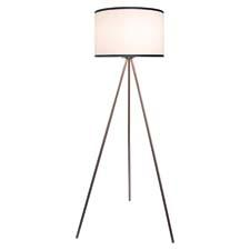 Threads' brushed steel floor lamp combines a classic modern look with a neutral shade accented with gray along the edges of the shade rim. tlighting.com