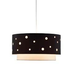 The black outer shade of Adesso's Starlight double pendant has polka-dot openings through which the inner white shade is visible. adessohome.com