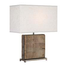 The Oliver lamp (#828) is of unfinished mango wood with patina nickel accents and a rectangular open weave heather linen shade. robertabbey.com