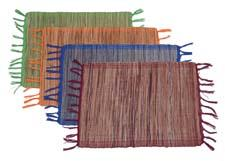 The multicolored line of cotton and banana-fiber placemats are made in Ethiopia. bamboulaltd.com