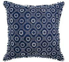 The Double Happiness pillow is hand-dyed in indigo using an ancient Chinese dye process. luruhome.com