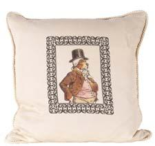 Pascal is one of the French Gentlemen group of pillows featuring satirical artwork. oxbowdecor.com