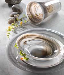 Bands of gray and caramel swirl together in Vietri's smooth translucent glass, reminiscent of handcarved alabaster. vietri.com