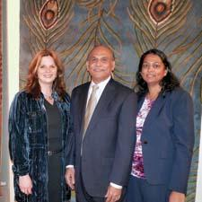Kas held a party in its AmericasMart showroom for customers and friends. From left, Kas Rugs' Wendy Reiss, Rao Yarlagadda, and Kranthi Yarlagadda during the event.