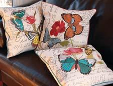 New from Xia Home Fashions is the Papillon decorative pillow collection, a brightly colored depiction of butterflies and florals. xiahomefashions.com