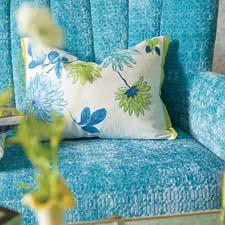 Amala Azure is part of the Designers Guild's line of Asian-inspired decorative pillows designed with embroidered florals. designersguild.com