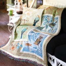 Created by artist Susan Winget, the Nature's Sketchbook Throw is a 100 percent cotton tapestry woven throw that is made in the United States. manualww.com