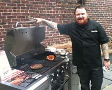 Top Chef runner up and grilling guy Kevin Gillespie was on hand to demonstrate Char-Broil's new TRU-Infrared performance standard to journalists at New York's James Beard House.