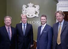 Charles, Ninth Earl Spencer, the brother of Lady Diana, was on hand to discuss the history of his families Althorp Estate. Theodore Alexander is the exclusive manufacturer of the Althorp Living History licensed home furnishings collection. Pictured: Harvey Dondero, Theodore Alexander; Charles, Ninth Earl Spencer; Russell Towner, Theodore Alexander USA; Anthony Cox, Theodore Alexander.