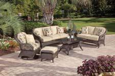 The Del Sol is an all weather wicker collection. The Sunbrella cushion fabric is specifically designed for outdoor use. agio-usa.com