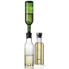 The Wine Breather, a decanter that clicks into place atop a wine bottle and after being inverted, aerates the wine as it transfers from the bottle into the carafe.